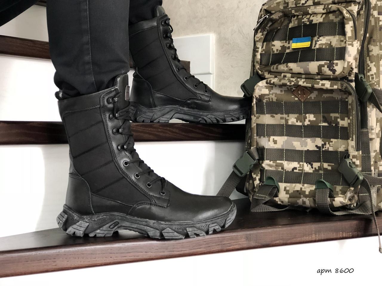 Армейские ботинки,зимние берцы нубук,на меху,черные