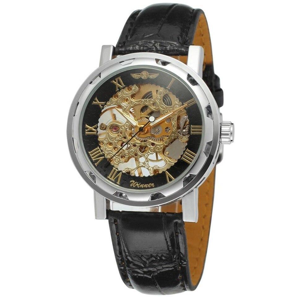 Winner Chocolate I черные с золотистым циферблатом мужские механические часы скелетон