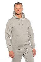 Толстовка мужская спортивная с капюшоном серая/черная Худи Nike