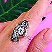Серебряный комплект Ажур: серьги и кольцо с чернением и золотом, фото 5