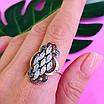 Серебряный комплект Ажур: серьги и кольцо с чернением и золотом, фото 7