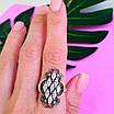 Серебряный комплект Ажур: серьги и кольцо с чернением и золотом, фото 6