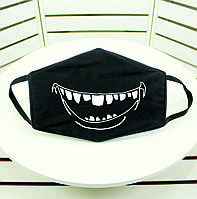 Защитная маска для лица, черного цвета с изображением