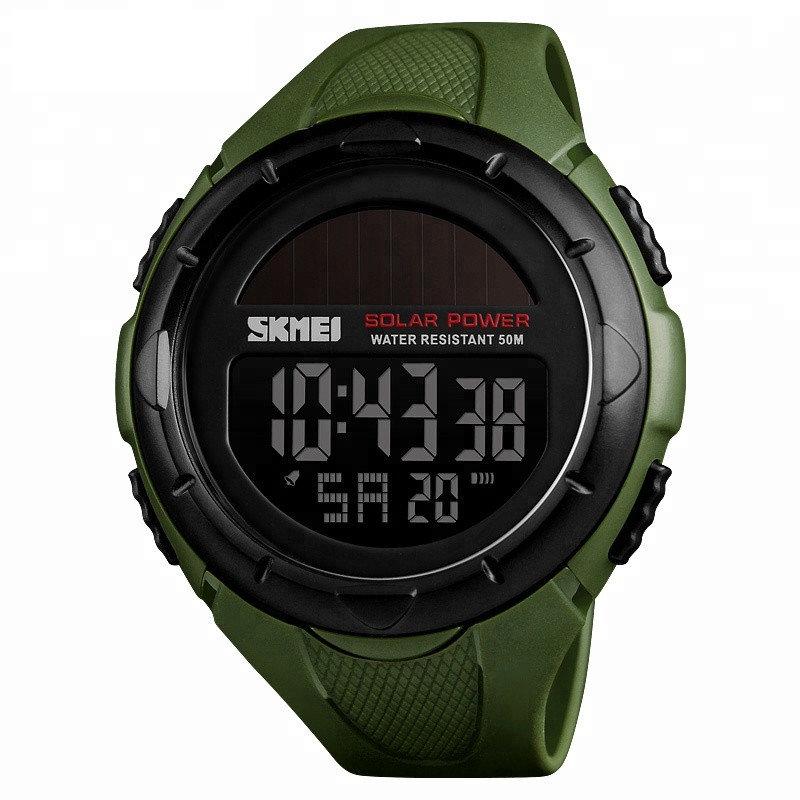 Skmei 1405 solar зеленые мужские  часы  на солнечной батарее