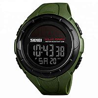 Skmei 1405 solar зеленые мужские  часы  на солнечной батарее, фото 1