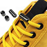 Шнурки для обуви эластичные черные с металлическими фиксаторами черными 2Life две пары в комплекте (n-526), фото 6