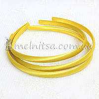 Ободок для волос, обтянутый тканью, желтый, 1 см