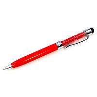 Стилус ёмкостный  , с шариковой ручкой, металлический, серебристый с прозрачными кристаллами