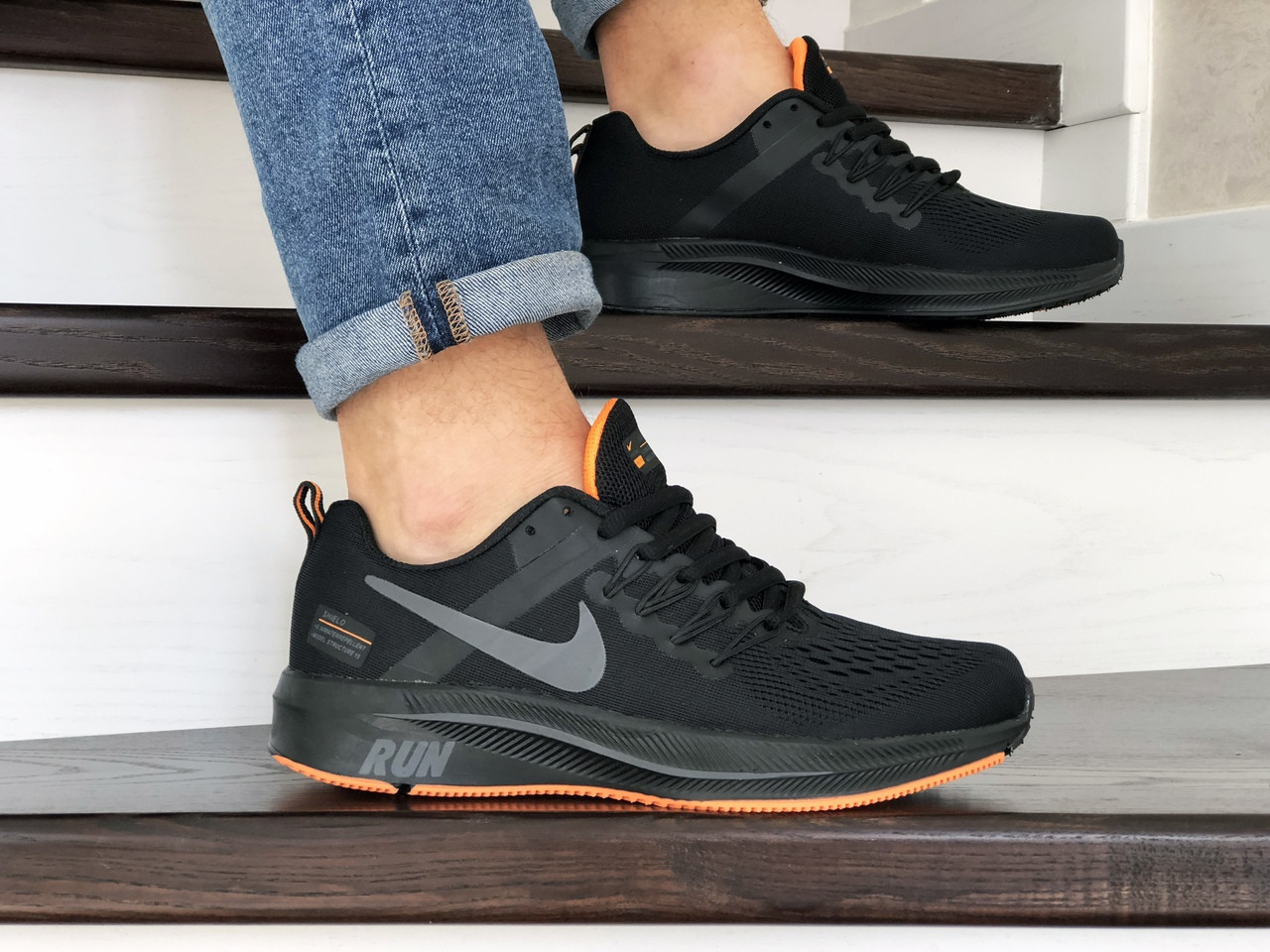 Мужские текстильные кроссовки Nike Run shield,черные