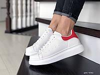 Кроссовки женские,подростковые Alexander McQueen, белые с красным, фото 1