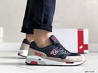 Замшевые мужские кроссовки New Balance 1500,черные с бежевым, фото 1