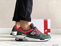 Замшевые мужские кроссовки New Balance 1500,черные с зеленым, фото 1