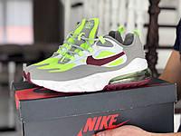 Модные кроссовки Nike Air Max 270 React,серые с салатовым, фото 1