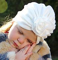 "Шапка чалма ""Розочка"" молочная 2-слойная, размеры 0-5 лет"
