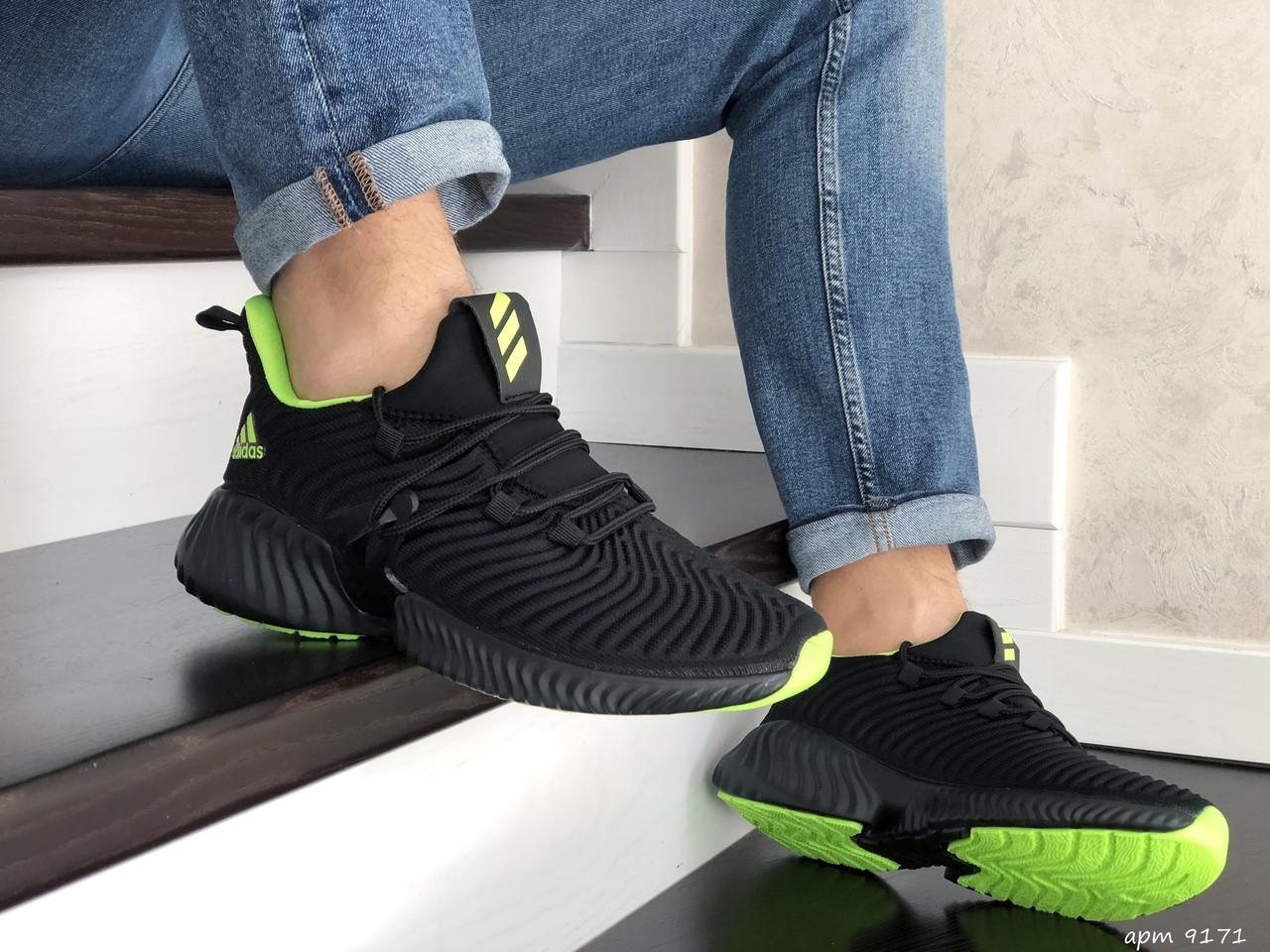 Мужские кроссовки Adidas,текстиль,черные с салатовым
