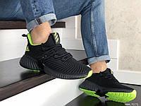 Мужские кроссовки Adidas,текстиль,черные с салатовым, фото 1