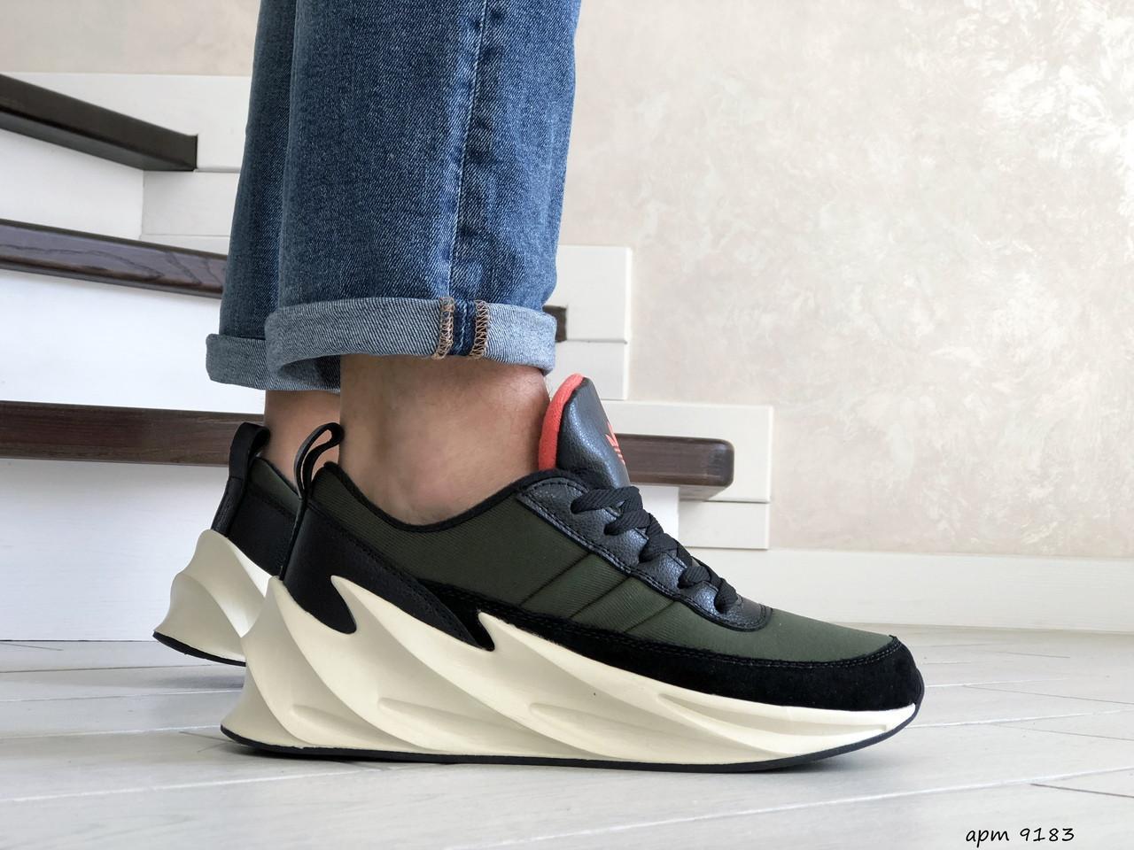 Мужские модные кроссовки Adidas Sharks,темно зеленые