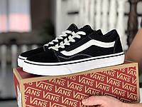 Мужские кеды Vans,замшевые,черно белые, фото 1