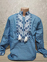 Мужская синяя вышиванка с вышивкой на руках - размер M (42)