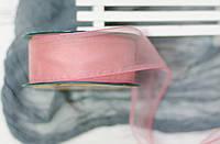 Лента органза 4см нежно-розового цвета\ с проволокой