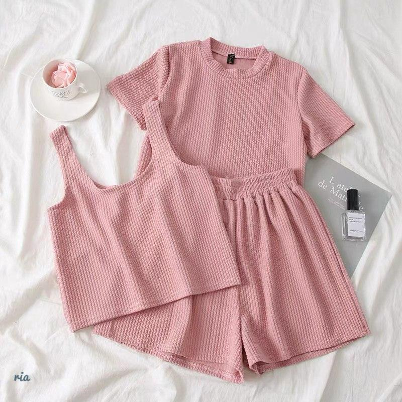 Женский летний костюм тройка с топом, футболкой и шортами 7710580