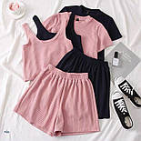 Женский летний костюм тройка с топом, футболкой и шортами 7710580, фото 2