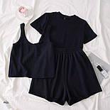 Женский летний костюм тройка с топом, футболкой и шортами 7710580, фото 3