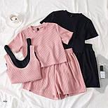 Женский летний костюм тройка с топом, футболкой и шортами 7710580, фото 4