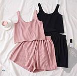 Женский летний костюм тройка с топом, футболкой и шортами 7710580, фото 5