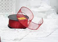 Лента органза 4см бордового цвета\ с проволокой, фото 1