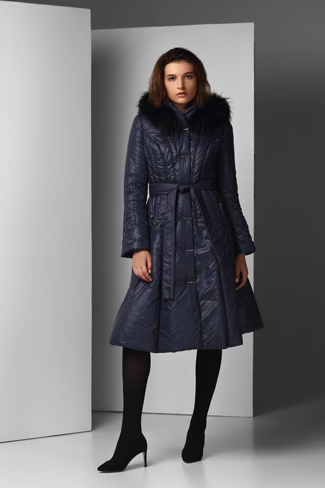 Женское зимнее плащевое пальто с отрезной юбкой Raslov 5051