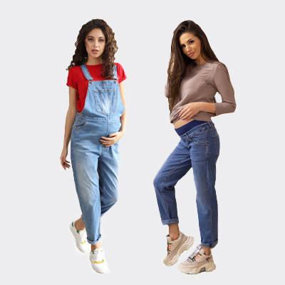 Джинсовые комбинезоны, джинсы для беременных