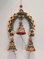Сувенир подкова с колокольчиками Hand Made Косовская керамика, ручная роспись, недорогой подарок в дом,13 х 18