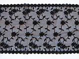 Ажурное кружево вышивка на сетке черного цвета, ширина 19 см, фото 8