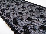 Ажурное кружево вышивка на сетке черного цвета, ширина 19 см, фото 9