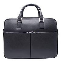 Мужская кожаная сумка с отделением для ноутбука 1001_Blakc