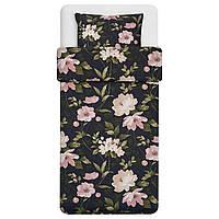 IKEA BLEKFRYLE Комплект постельного белья, черный, цветок, 150x200/50x60 см (304.607.12)