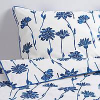 IKEA FINNOXEL Комплект постельного белья, белый, синий цветок, 150x200/50x60 (604.607.39)