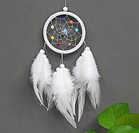 Ловец снов маленький, разноцветные бусины. Цвет белый