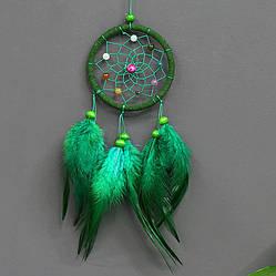 Ловец снов маленький, разноцветные бусины. Цвет зеленый