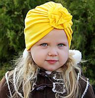 "Шапка чалма ""Розочка"" желтая 2-слойная, размеры 0-5 лет"