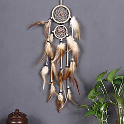 Ловец снов коричневые перья. Цвет кофейный