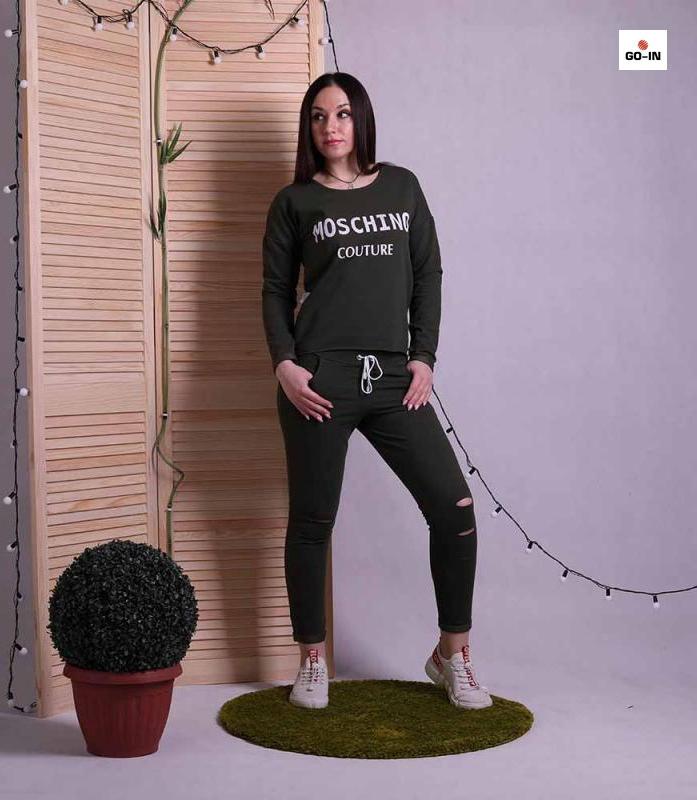 Костюм женский стильный черный однотонный для девушек 42-52р.