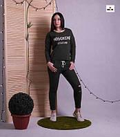 Костюм женский стильный черный однотонный для девушек 42-52р., фото 1