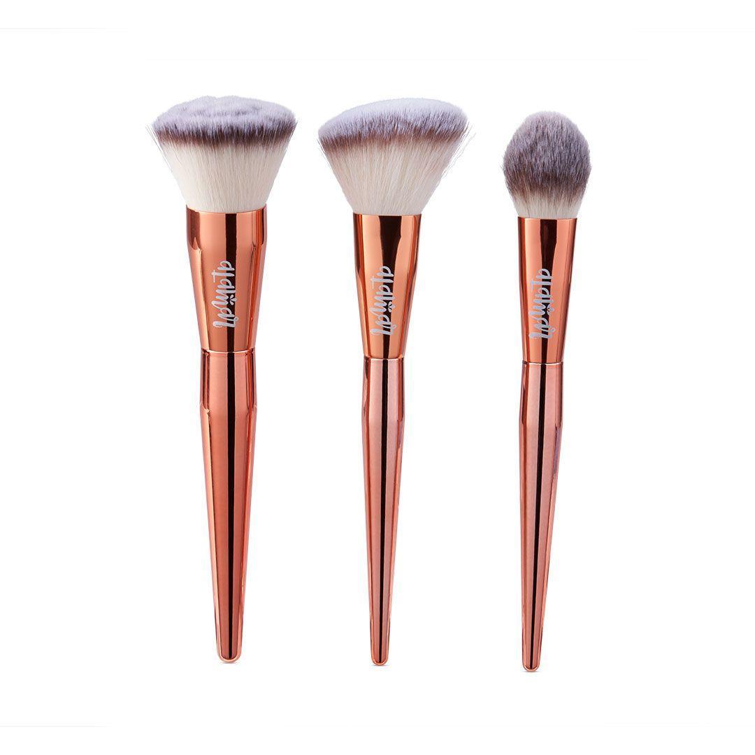 Набор кистей для идеального тона лица ALAMAR Cosmetics 3 шт для бронзера, хайлайтера и тона