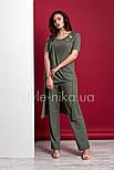Стильный  женский трикотажный костюм с ассиметричной туникой и брюками  Style-nika ВИВАРИ 46, фото 2