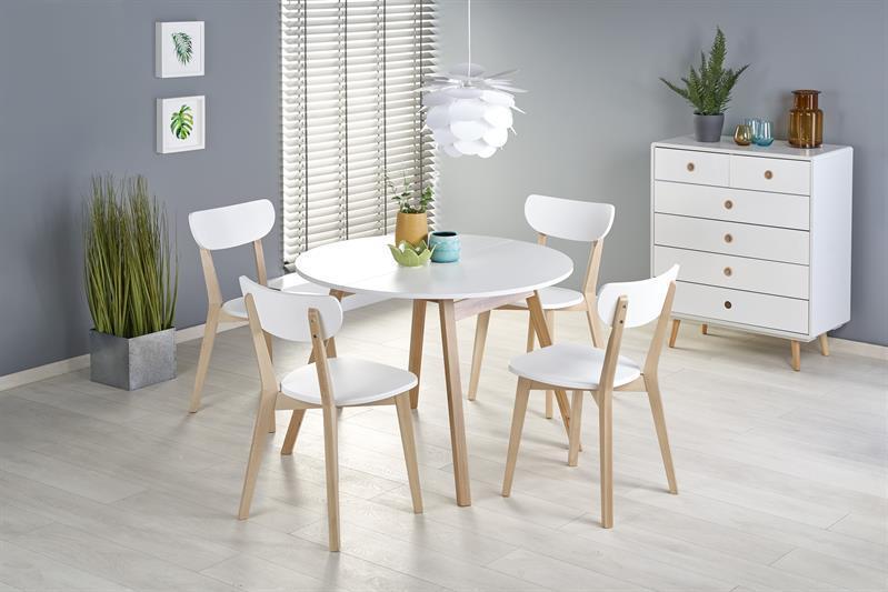 Стол раскладной RUBEN белый/дуб 102(142)X102 (Halmar)
