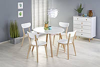 Стол раскладной RUBEN белый/дуб 102(142)X102 (Halmar), фото 1