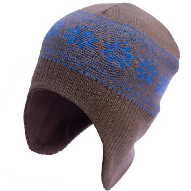 Шапка-шолом з вовни мериноса СОФІЯ (розмір 50-54, коричневий з синіми сніжинками)