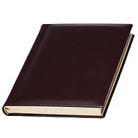 Ежедневник А5 Кожаный датированный, кремовый блок, бордовый, от 10 шт